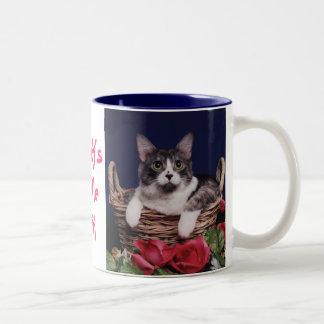 Cat in Basket Two-Tone Coffee Mug