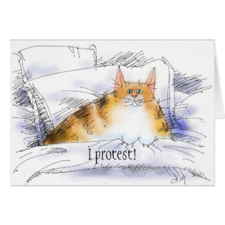 cat in bed in protest card