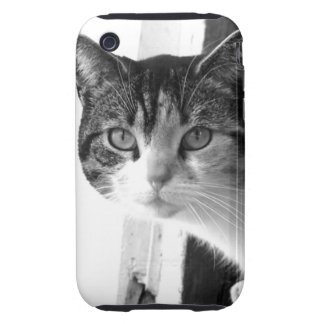 Cat in black and white iPhone 3 tough case