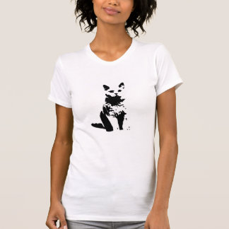 Cat in black and white t-shirt