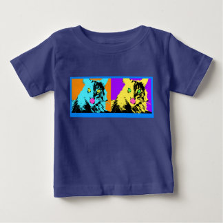 Cat in blue and yellow baby T-Shirt