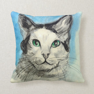 Cat in Blue, Francis Picabia Throw Pillows