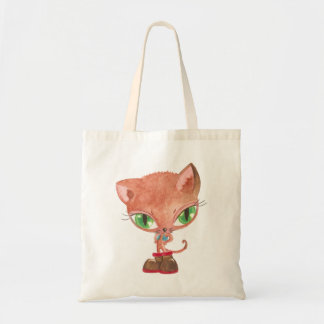 Cat in boots tote bags