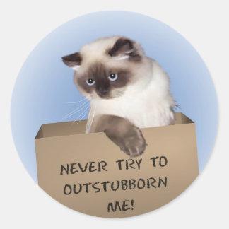 Cat in Box Himalayan Classic Round Sticker
