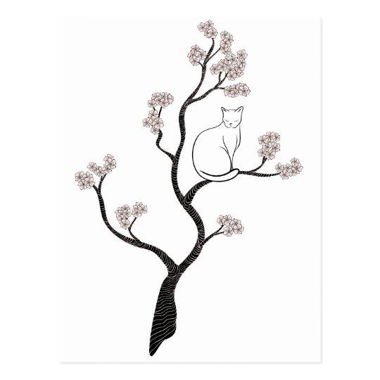 Cat in Cherry Blossom Tree Postcard