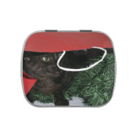 Cat in Christmas gift bag Candy Tin
