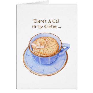 Cat in Coffee Card