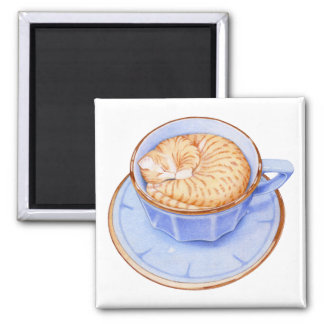 Cat in Coffee 2 Inch Square Magnet