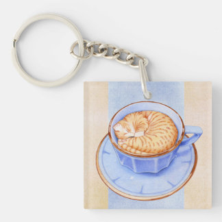 Cat in Coffee Square Keychain