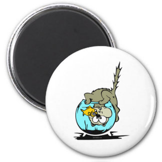 Cat In Fish Bowl 2 Inch Round Magnet