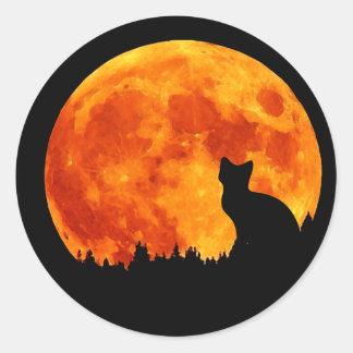 Cat in full orange Moon Classic Round Sticker