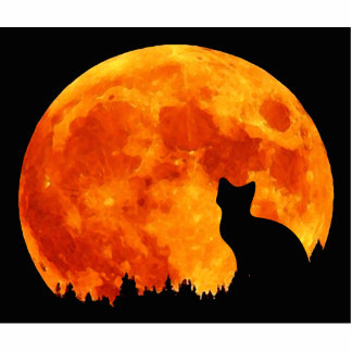 Cat in full orange Moon Cutout