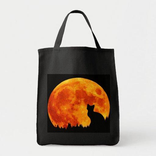 Cat in full orange Moon Grocery Tote Bag