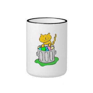 Cat In Garbage Ringer Coffee Mug