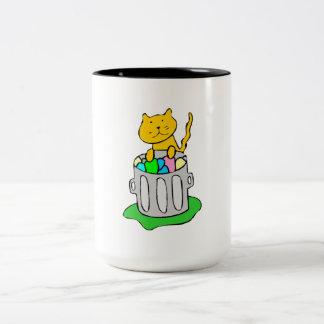 Cat In Garbage Two-Tone Coffee Mug