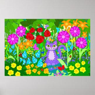 Cat in Garden Butterflies Flowers Ladybugs Art Poster