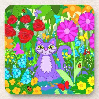 Cat in Garden Fantasy Flowers Butterflies Ladybugs Beverage Coaster