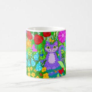 Cat in Garden Fantasy Flowers Butterflies Ladybugs Classic White Coffee Mug