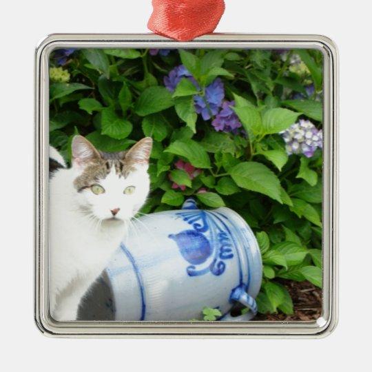 Cat in garden metal ornament