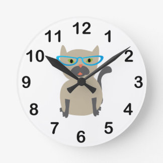 Cat in Glasses Round Clock
