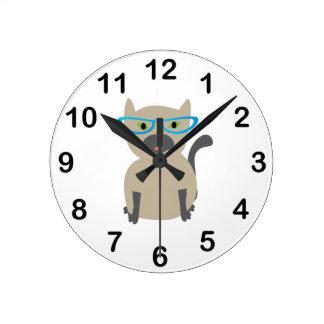 Cat in Glasses Round Clock