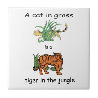 Cat in Grass is a Tiger in the Jungle Tile