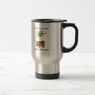 Cat in Grass is a Tiger in the Jungle Travel Mug