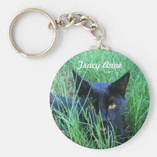 Cat in Grass Personalized Keychain