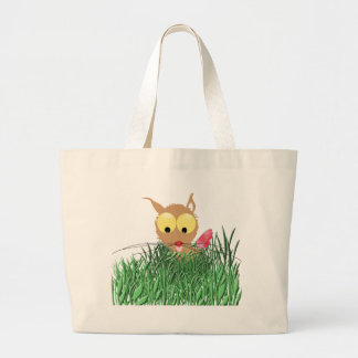 Cat in Grass with Pink Flower Large Tote Bag