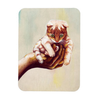 CAT IN HAND MAGNET