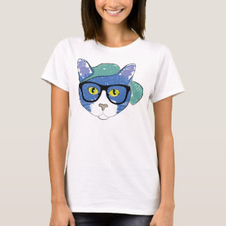 Cat In Hat With Spectacles Women's Fun T-Shirt