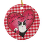 Cat In Heart Double-Sided Ceramic Round Christmas Ornament