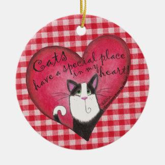 Cat In Heart Ornaments