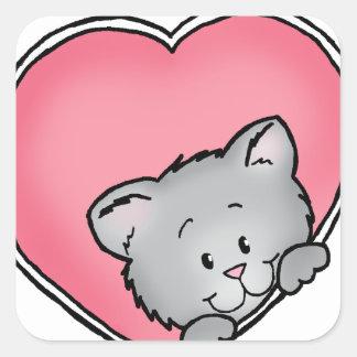 Cat in heart - Valentine's Day Gift Square Sticker