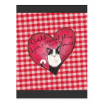 Cat in Heart with red and white gingham background Postcard