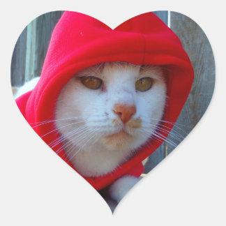 cat in hood heart stickers