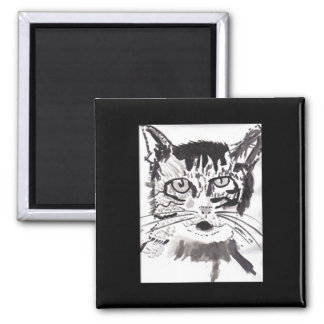 Cat in India Ink 2 Inch Square Magnet