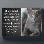 """Cat In Loving Memory Photo Rustic Memorial Plaque<br><div class=""""desc"""">If you had a cat who you adored and loved, this rustic pet memorial plaque featuring a photo of your pet on a dark black wooden background, a sympathy quote that reads """"If love could have saved you, You would have lived forever."""", a pawprint flourish, your pets name, and dates....</div>"""