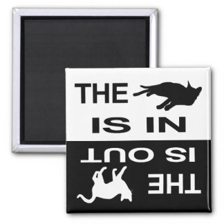 Cat In/Out 2 2 Inch Square Magnet