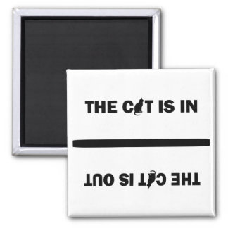 Cat In/Out 2 Inch Square Magnet