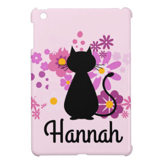 Cat in Pink Flowers Customisable IPad Mini Case