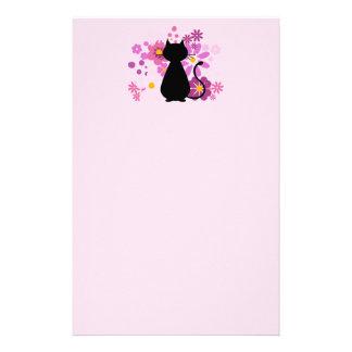 Cat in Pink Flowers Letterhead