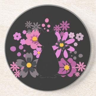 Cat in Pink Flowers Sandstone Coaster