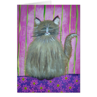 Cat in Pink Room Card