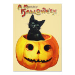 Cat in Pumpkin Halloween Party Invitation