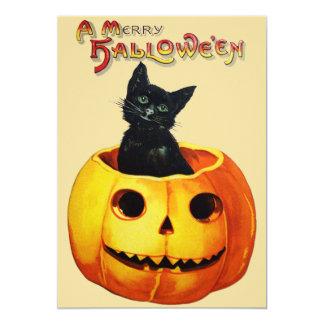 "Cat in Pumpkin Halloween Party Invitation 5"" X 7"" Invitation Card"