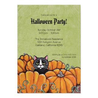 "Cat in Pumpkin Patch | Halloween Party Invitation 5"" X 7"" Invitation Card"