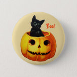 "Cat in Pumpkin Vintage Halloween Button<br><div class=""desc"">Vintage Ellen Clapsaddle Halloween postcard from series 1237 showing a very cute cat sitting in a pumpkin. Reprinted on this button.</div>"
