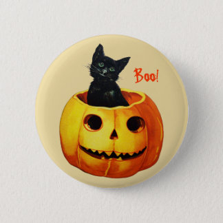 Cat in Pumpkin Vintage Halloween Button