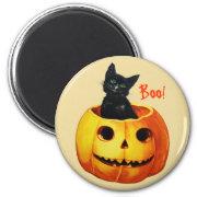 Cat in Pumpkin Vintage Halloween Magnet